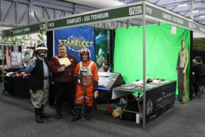 "The USS Tydirium ""Green Screen"" Photo Booth at Sydney OzComicCon with Rebel visitors from the Star Wars universe."