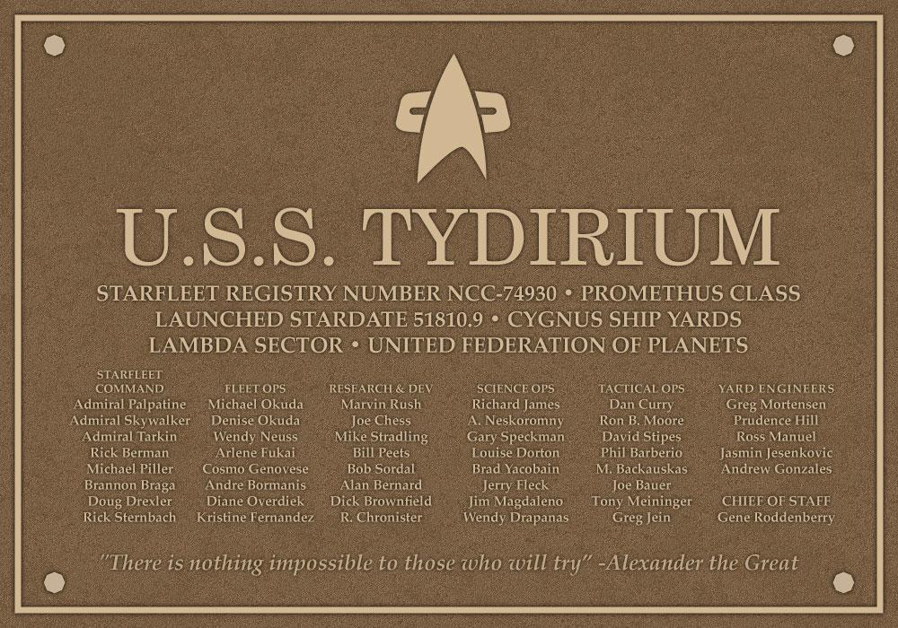 USS Tydirium Dedication Plaque
